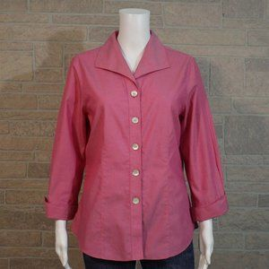 Foxcroft Fitted Pink Cuffed Button Up Shirt Top